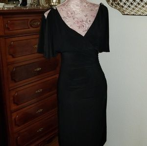 Slinky black dress with silver shoulder accents
